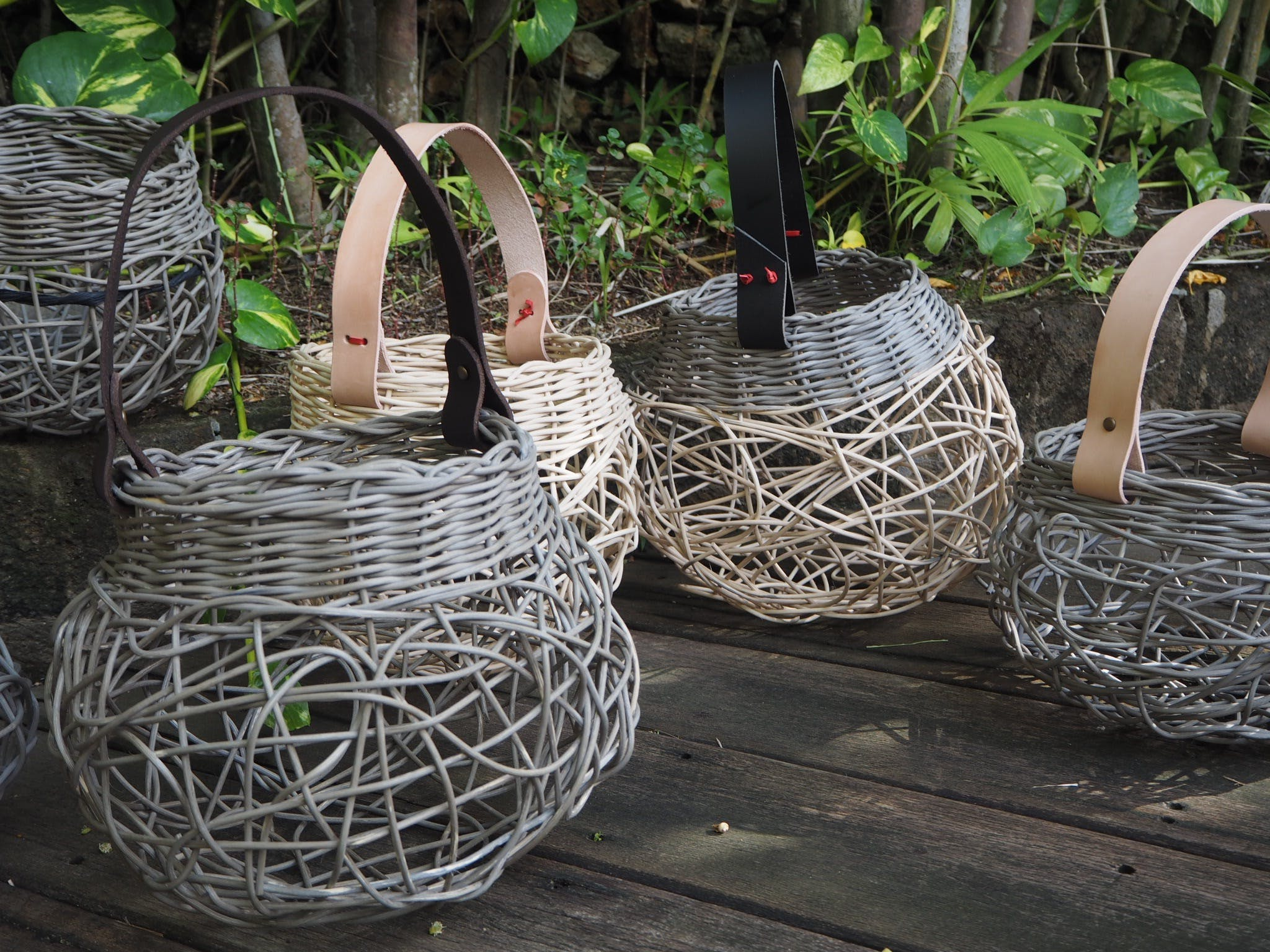 Weaving Woven Basket with Leather Handle - Accommodation Kalgoorlie